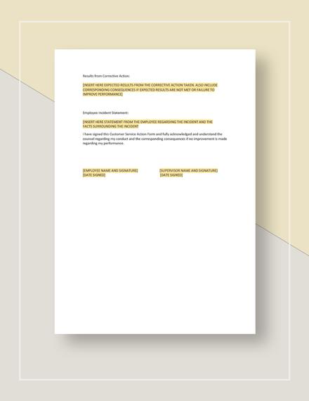 Restaurant Customer Service Action Form Template