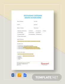 Restaurant Customer Service Action Form Template