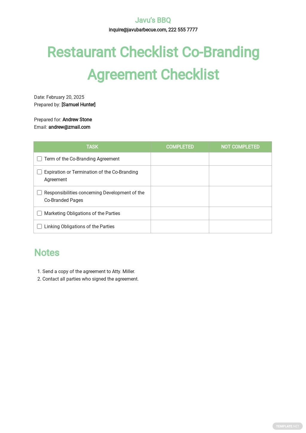 Restaurant Checklist Co Branding Agreement Template.jpe