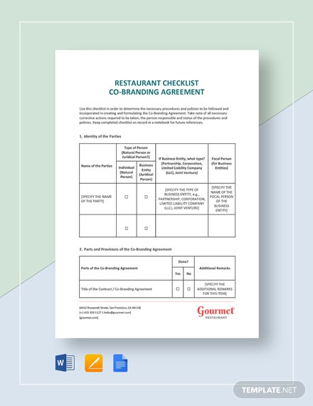 Restaurant Checklist Co-Branding Agreement Template