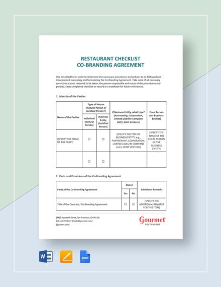Restaurant Checklist Co-Branding Agreement Template