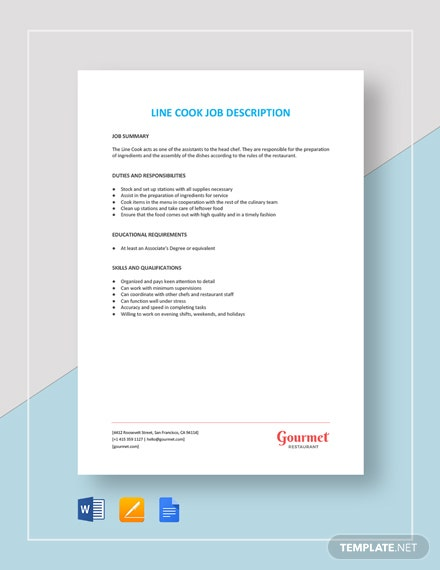 Line Cook Job Description Template