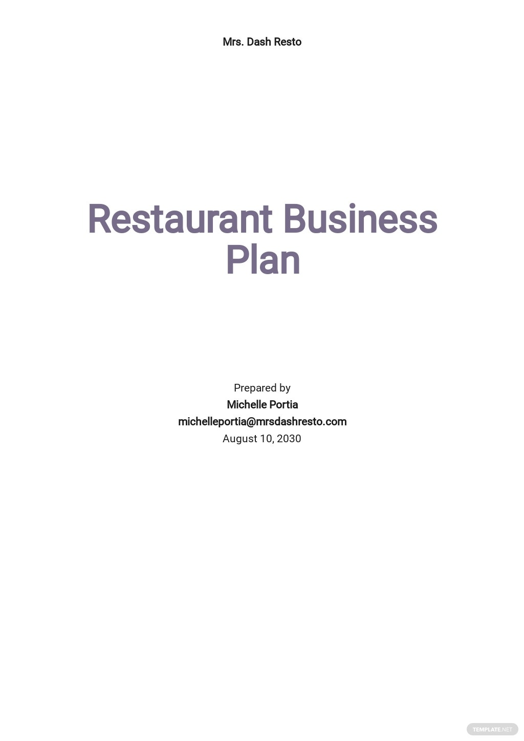 Restaurant Business Plan Outline Template