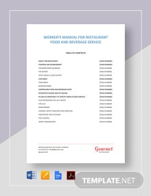 Restaurant Food and Beverage Workers Manual Template