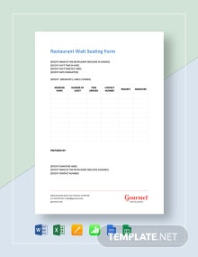 Restaurant Wait Seating Form Template