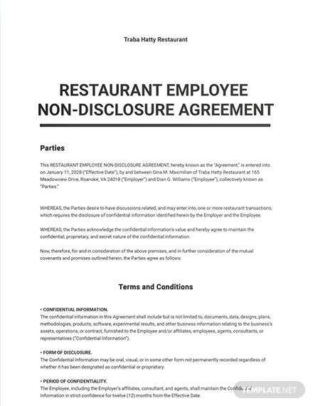 Restaurant Employee Non-Disclosure Agreement Template