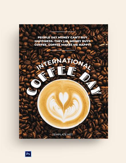 International Coffee Day Greeting Card Template
