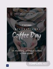 Coffee Day Greeting Card Template