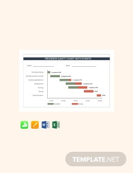 Free Progress Gantt chart with Events Template