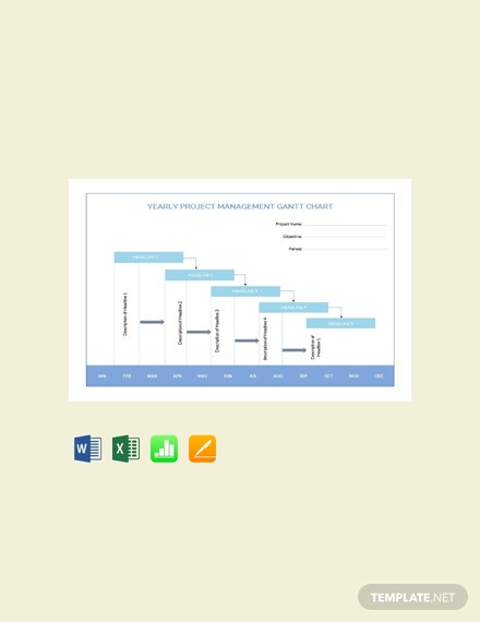 Yearly Project Management Gantt Chart Template