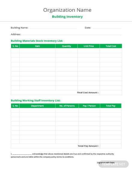 Building Inventory List Template