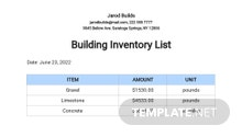 Free Building Inventory List Template