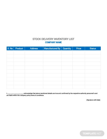 Stock Delivery Inventory List Template