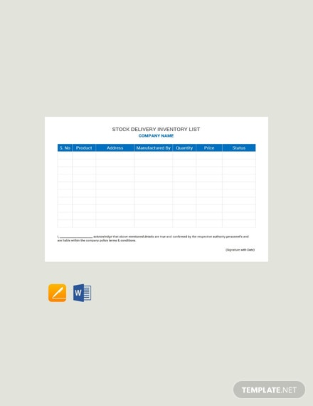 Free Stock Delivery Inventory List Template