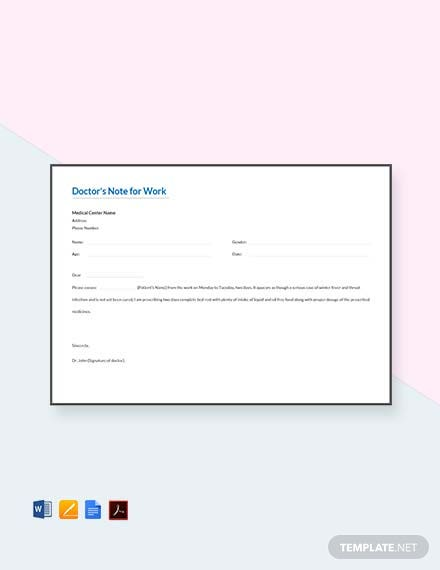 Free Doctors Note For Work Template