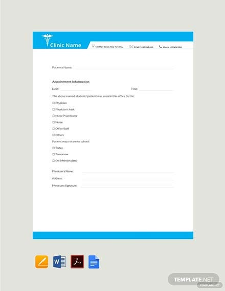 Free Minute Clinic Doctors Note Template