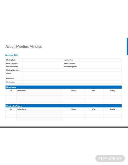 Actions Meeting Minutes Template