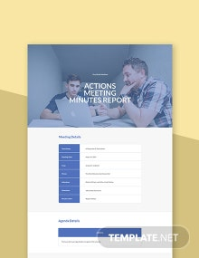 Free Actions Meeting Minutes Template