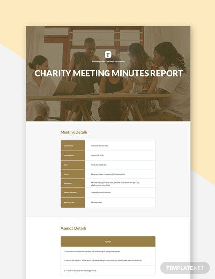 Free Charity Meeting Minutes Template