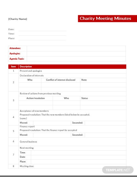 Charity Meeting Minutes Template