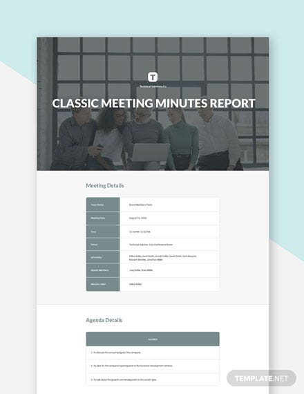 Free Classic Meeting Minutes Template