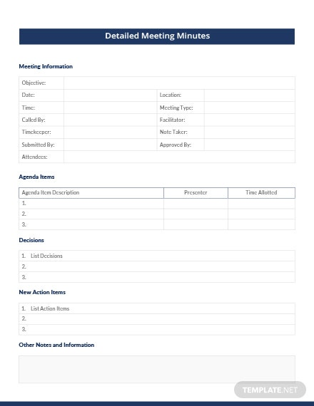 Detailed Meeting Minutes Template