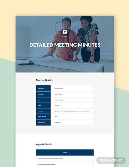 Free Detailed Meeting Minutes Template