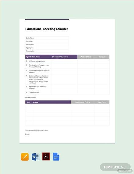 Free Educational Meeting Minutes Template