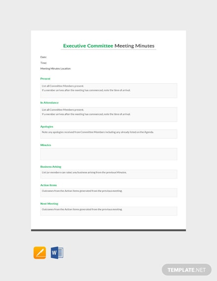 Executive Committee Meeting Minutes Template