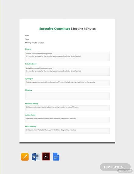 Free Executive Committee Meeting Minutes Template