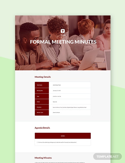 Free Formal Meeting Minutes Template