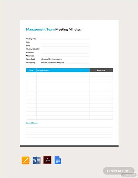 Free Management Team Meeting Minutes Template