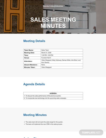Free Meeting Minutes Format Template