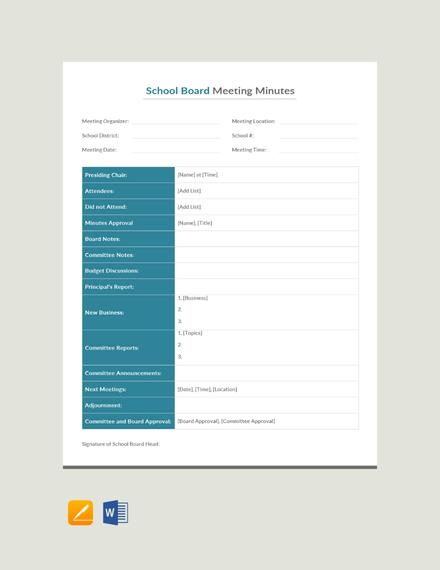 Sample School Board Meeting Minutes