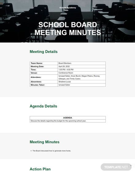 Sample School Board Meeting Minutes Template