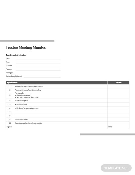 Trustee Meeting Minutes Template