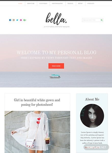 Free Personal Blog  HTML5/CSS3 Website Template