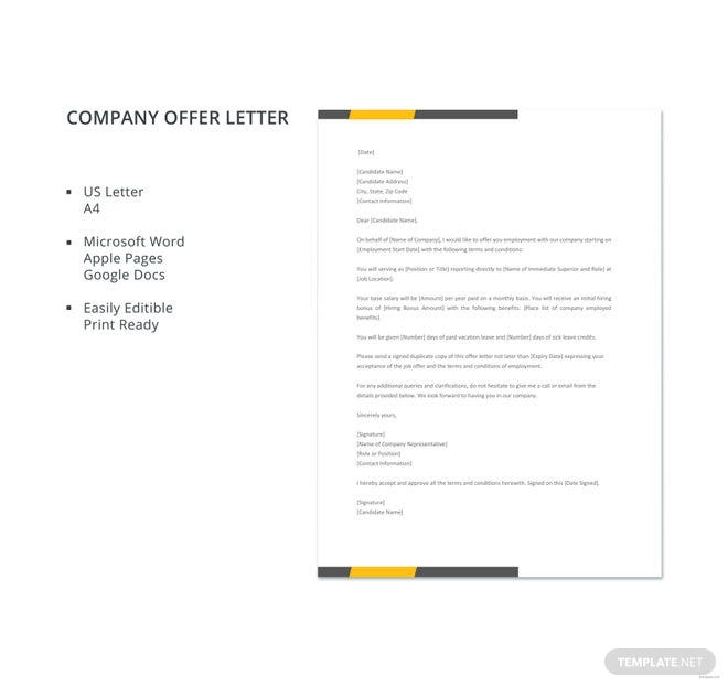 free company offer letter template free templates. Black Bedroom Furniture Sets. Home Design Ideas
