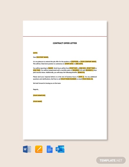 Free Contract Offer Letter Template