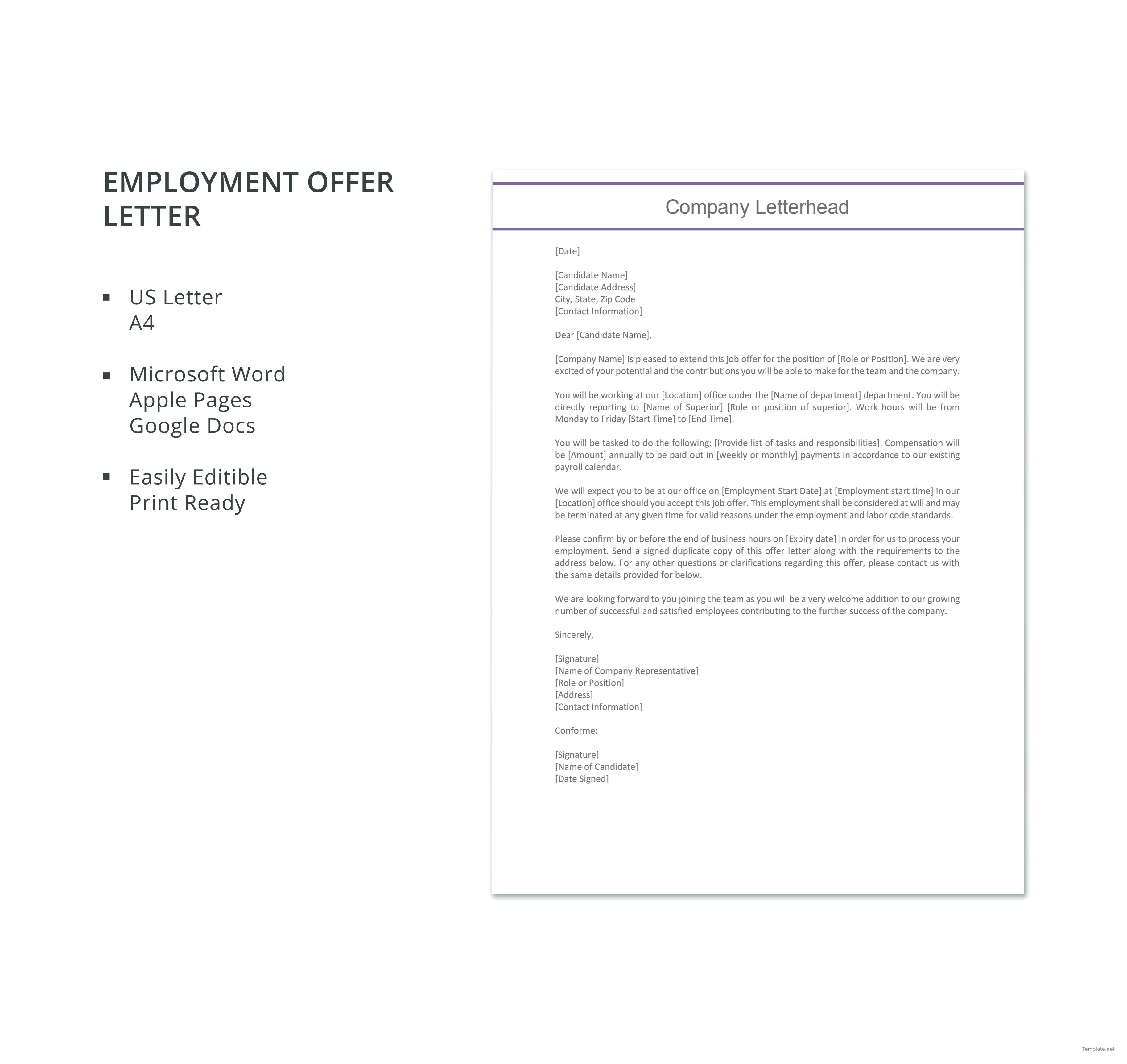 job offer letter in word format