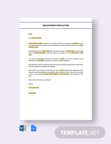 Free Employment Offer Letter Template