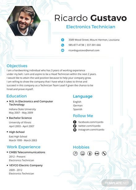 free electronic technician resume and cv template in psd ms word