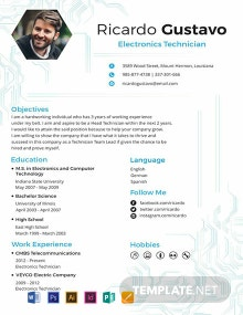 Electronic Technician Resume Template