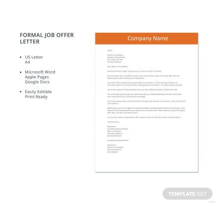 Free Formal Job Offer Letter Template