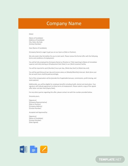 Free Formal Job Offer Letter Template