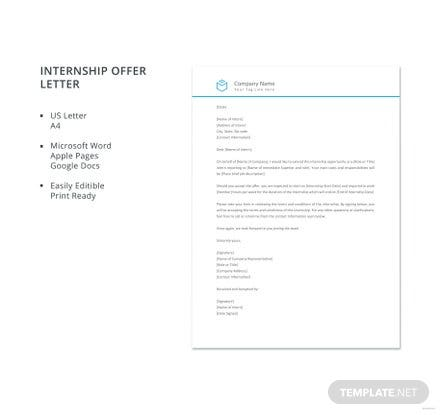 Free Internship Offer Letter Template