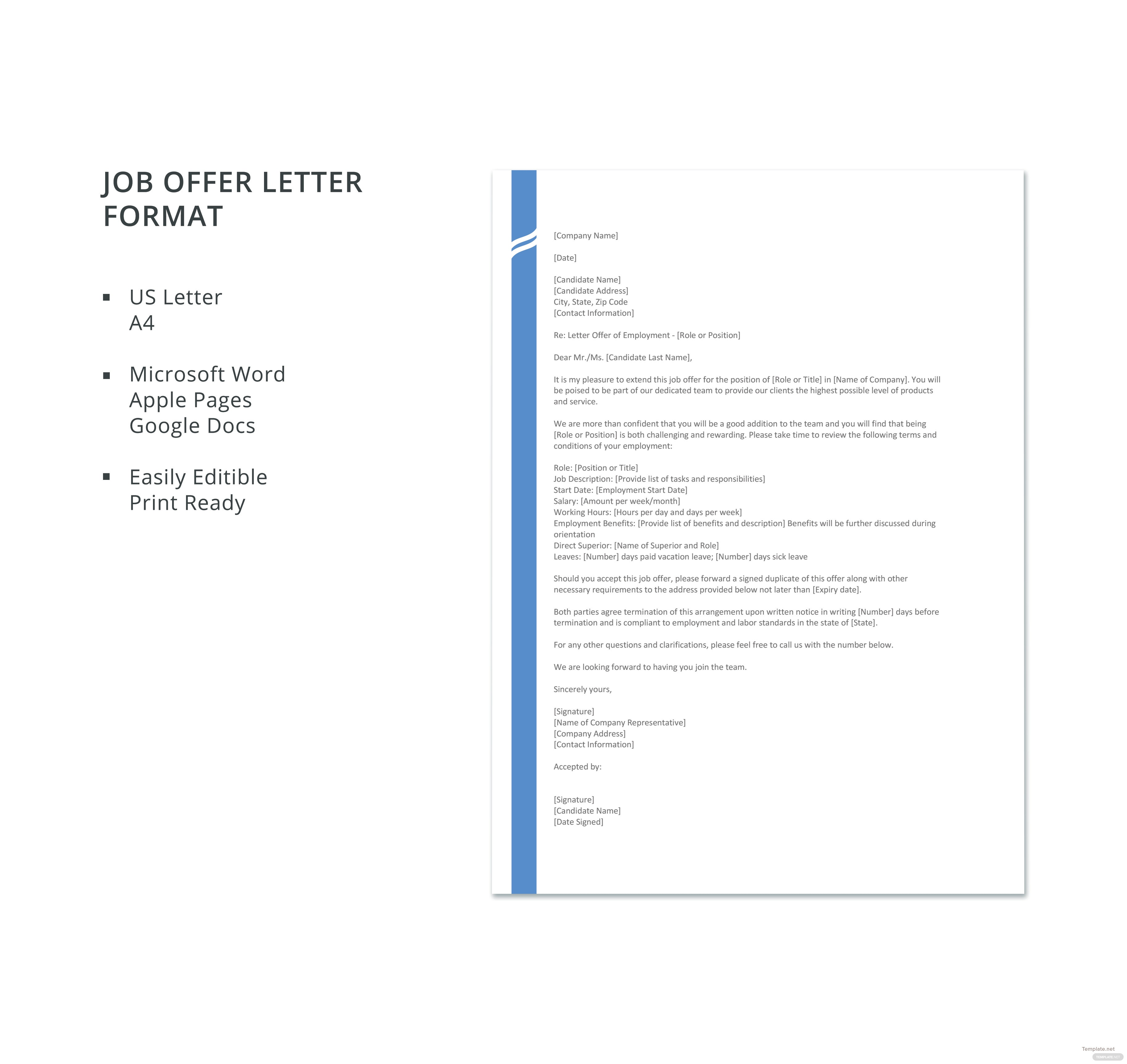 Free job offer letter format in microsoft word apple pages google click to see full template job offer letter format spiritdancerdesigns Gallery