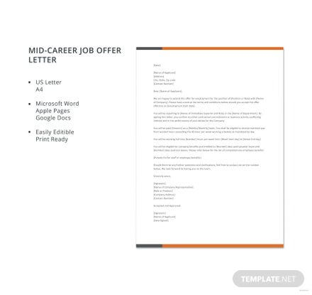 free employment offer letter template in microsoft word apple pages