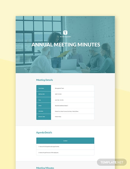 Free Annual Meeting Minutes Template