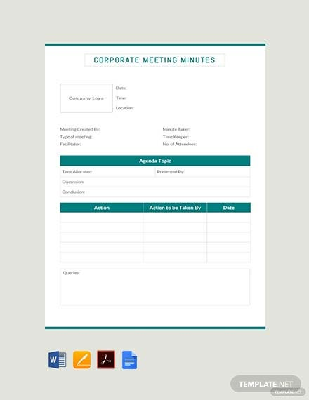 Free Corporate Meeting Minutes Template